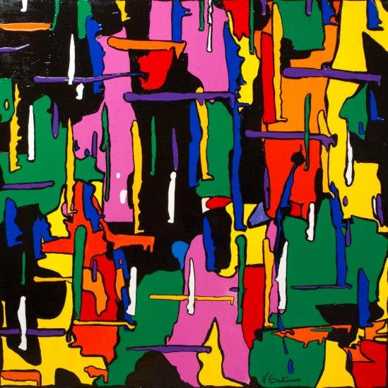 Colourful Crowd, Acrylic on canvas by Nancy Stella Galianos