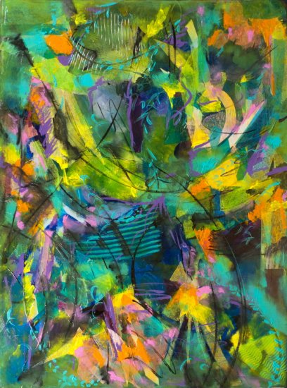 Tropical Lights, Mixed media on canvas by Nancy Stella Galianos