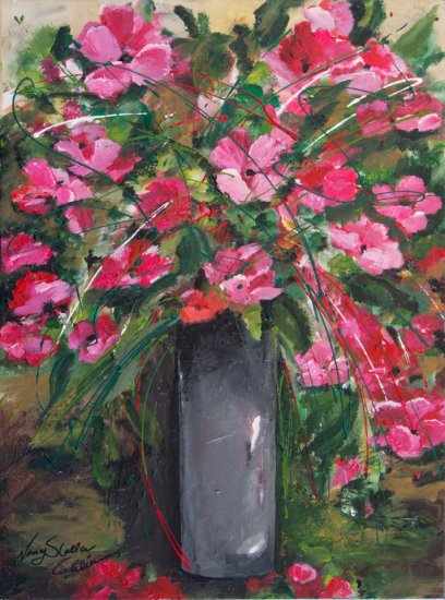 Bouquet de pavots, Acrylic on canvas by Nancy Stella Galianos