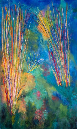 Prairie Fire Grass, Acrylic on canvas by Nancy Stella Galianos