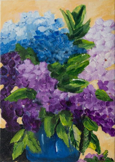 Hydrangeas, Acrylic on canvas by Nancy Stella Galianos
