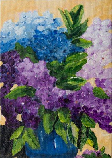 Hydrangeas, Acrylic on canvas by Nancy Stella Galianos