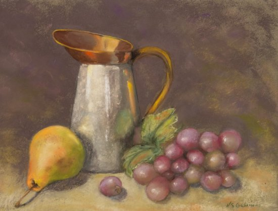 Still Life with Pewter Pitcher, Pastel by Nancy Stella Galianos