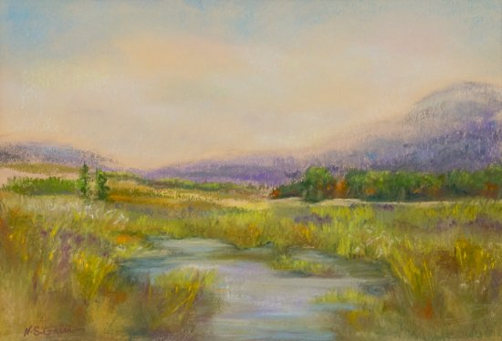 Country Landscape, Pastel by Nancy Stella Galianos