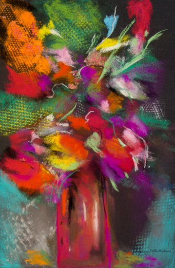 Floral Burst, Pastel by Nancy Stella Galianos