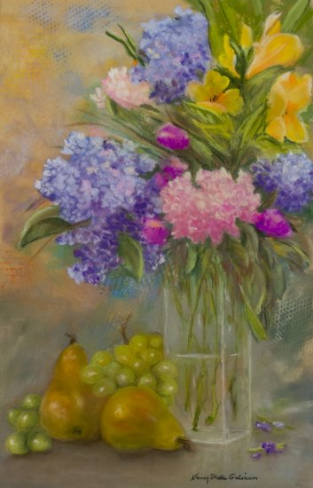 Fleurs et fruits, Pastel by Nancy Stella Galianos