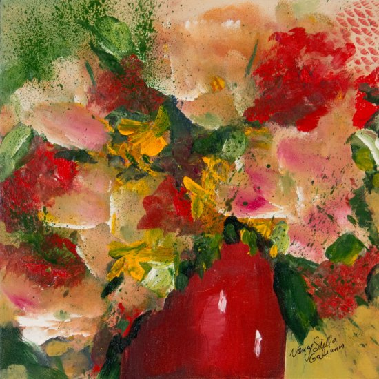 Joyful Little Bouquet, Acrylic on canvas by Nancy Stella Galianos