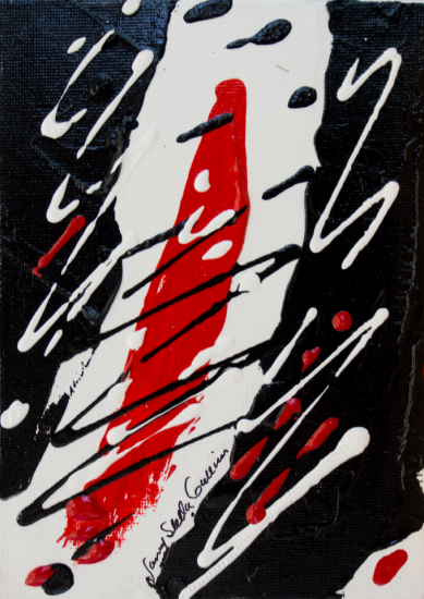 Rouge et Noir S12, Acrylic on canvas by Nancy Stella Galianos