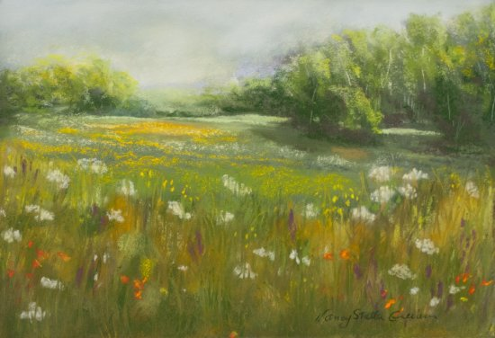 Country Landscape, Pastel by Nancy Stella Galianos
