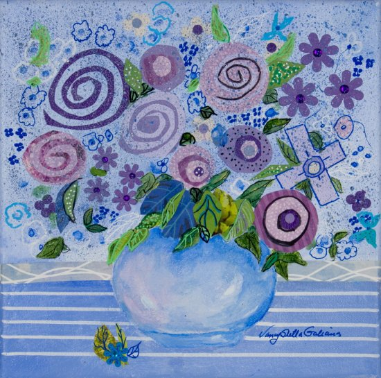 Blossoming Fantaisies, Mixed media on canvas by Nancy Stella Galianos