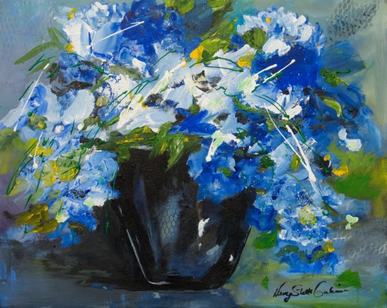 Blue Gathering, Acrylic on canvas by Nancy Stella Galianos