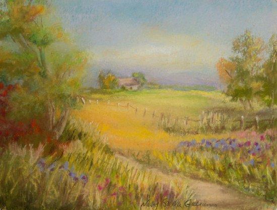 Contry Home , Pastel by Nancy Stella Galianos