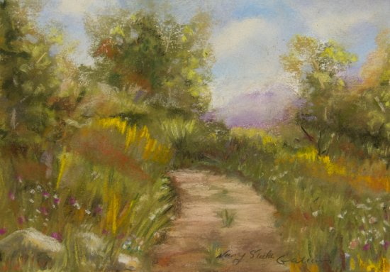 Pathway to the Cabin, Pastel by Nancy Stella Galianos