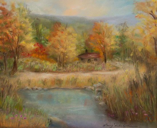 Cabin by the Pond, Pastel by Nancy Stella Galianos