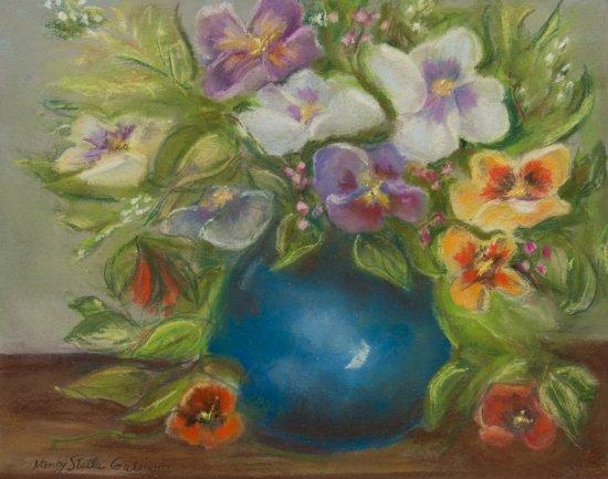 Bouquet of Pansies, Pastel by Nancy Stella Galianos