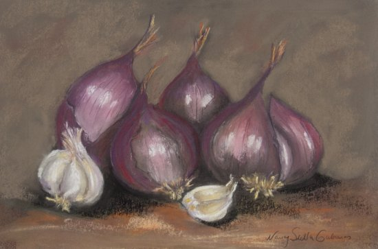 Still Life with Red Onions, Pastel by Nancy Stella Galianos