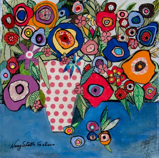 Garden's Party, Mixed media on canvas by Nancy Stella Galianos