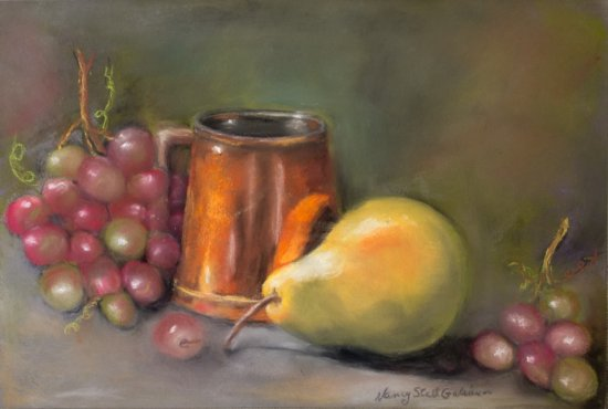 Still Life with Grapes and Pear, Pastel by Nancy Stella Galianos