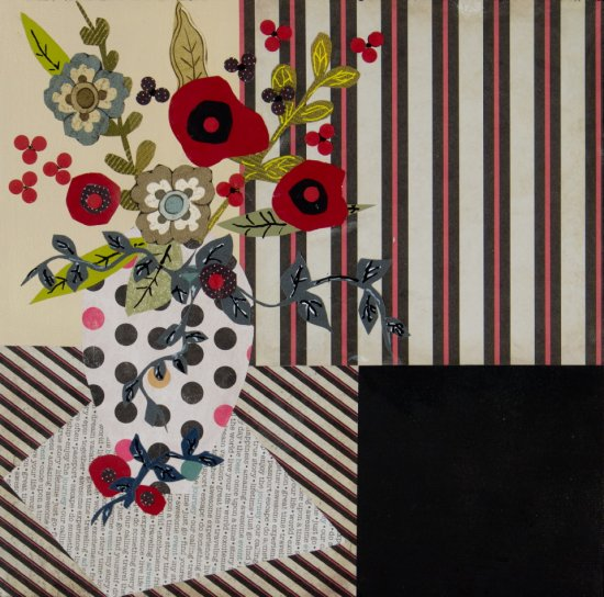 Vase with red popies, Mixed media on canvas by Nancy Stella Galianos
