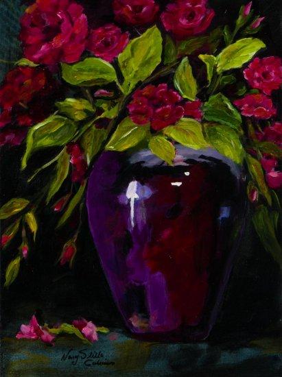 Bourbon Roses, Acrylic on canvas by Nancy Stella Galianos