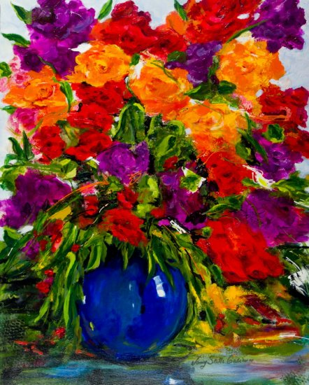 Generous Blooms, Acrylic on canvas by Nancy Stella Galianos