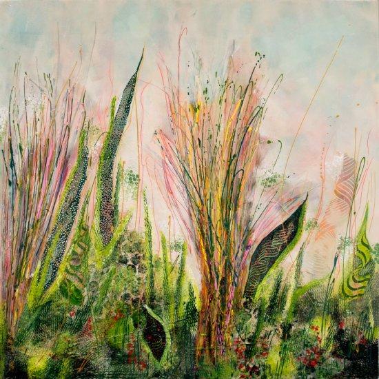 Raffia, Mixed media on canvas by Nancy Stella Galianos