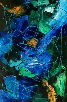 Far in Space, Acrylic on canvas by Nancy Stella Galianos