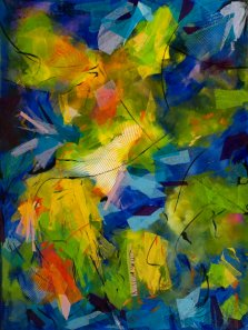 Tropical Radiance, Mixed media on canvas by Nancy Stella Galianos