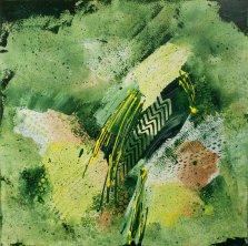 Quetzal Plumes, Acrylic on canvas by Nancy Stella Galianos