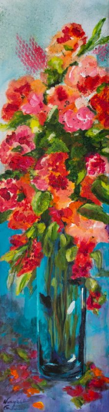 Blazing Blooms, Acrylic on canvas by Nancy Stella Galianos