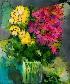 Fabulous Blooms, Acrylic on canvas by Nancy Stella Galianos