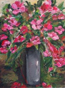 Bouquet de pavots, Acrylic on canvas by Nancy Stella Galianos