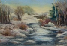 Quebec Winter Scene, Pastel by Nancy Stella Galianos
