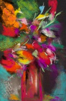 Floral Burst, Pastel by Nancy Stella Galianos