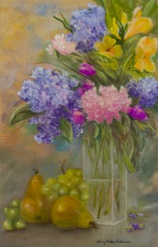 Fleurs et fruits, Pastel by Nancy Stella Galianos