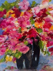 Blazing Bloom, Acrylic on canvas by Nancy Stella Galianos