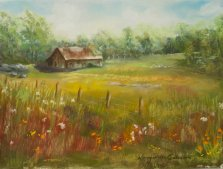 The Old Farm, Pastel by Nancy Stella Galianos