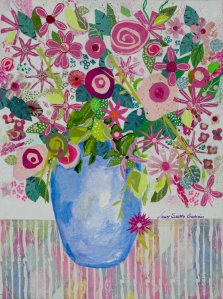 Pink Blooms, Mixed media on canvas by Nancy Stella Galianos