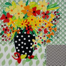 Vase Full of Summer, Mixed media on canvas by Nancy Stella Galianos