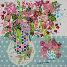 Pretty Pink Bouquet, Mixed media on canvas by Nancy Stella Galianos