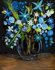 Indigo, Mixed media on canvas by Nancy Stella Galianos