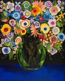 Fantaisy Flowers, Mixed media on canvas by Nancy Stella Galianos