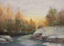 L'hiver dans Lanaudière, Pastel by Nancy Stella Galianos