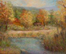 Cabin by the Pond, Pastel by Nancy Stella Galianos