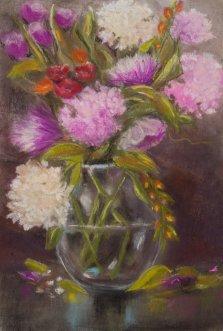 Mixed Bouquet, Pastel by Nancy Stella Galianos