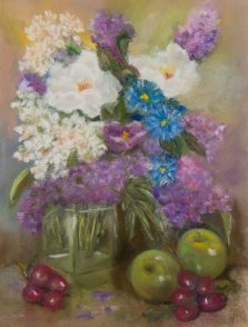 Spring Abundance, Pastel by Nancy Stella Galianos