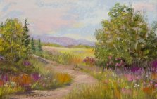 Small Country Pathway, Pastel by Nancy Stella Galianos