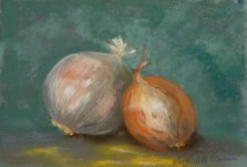 Still Life with Onions, Pastel by Nancy Stella Galianos