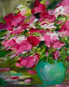 Blush Blossom, Acrylic on canvas by Nancy Stella Galianos