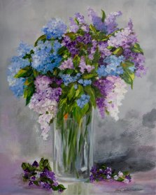 Bouquet for Nelly, Acrylic on canvas by Nancy Stella Galianos